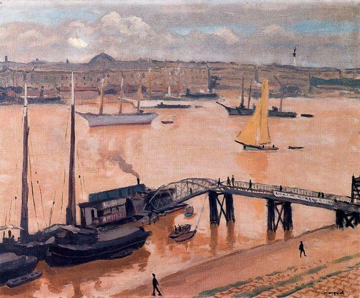 """""""The port of Burdeos"""", Oil by Albert Marquet (1875-1947, France)"""