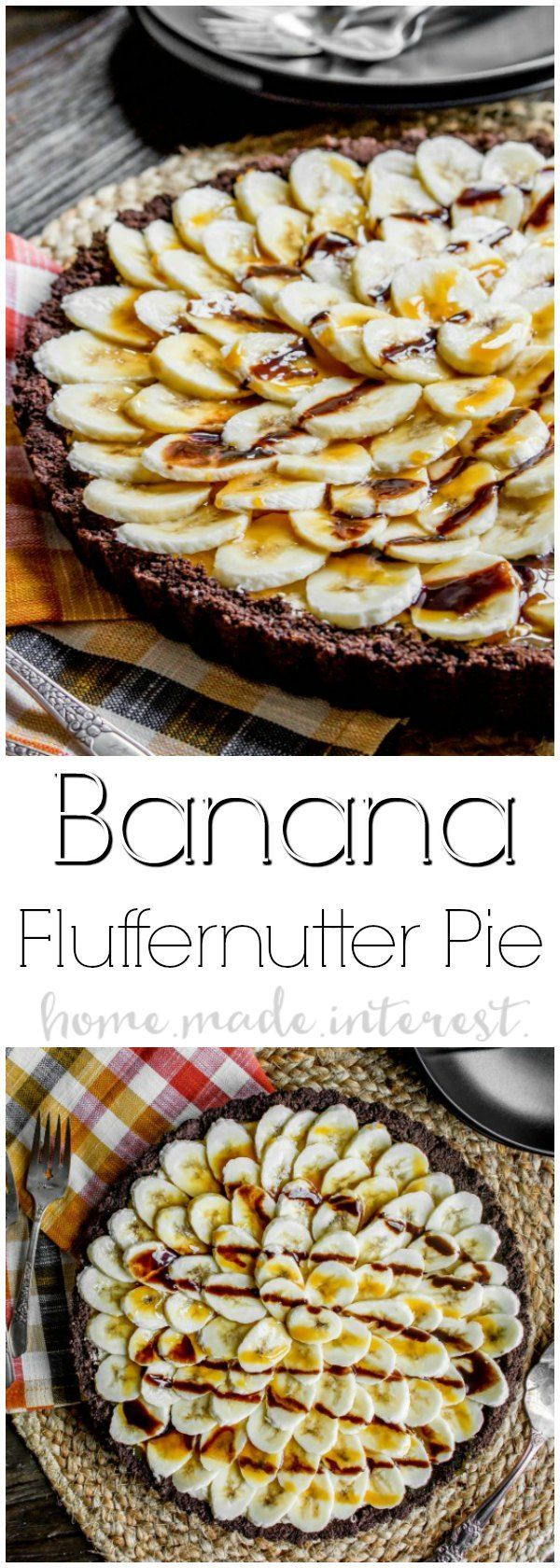 This easy dessert recipe is an almost no bake pie made with fluffernutter! Banana Fluffernutter Pie is a peanut butter twist on a banana cream pie. Chocolate graham cracker crust filled with fluffernutter and topped with fresh slices of bananas. This is a holiday dessert recipe that would make a great Thanksgiving dessert recipe or Christmas dessert recipe. If you like banana cream pie you're going to love this Banana Fluffernutter Pie! #pie #fluffernutter #thanksgivingdessert