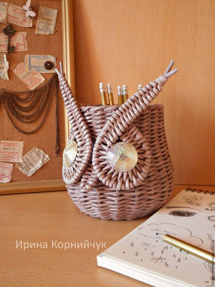 """Купить Плетеная корзинка-органайзер """"Совушка"""" - коричневый, органайзер, для школьника, Плетеная корзинка, сова, совушка"""