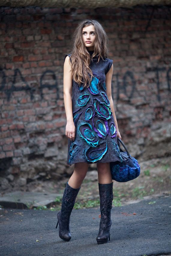 Felted Paisley Dress by DianaNagorna on Etsy, $500.00