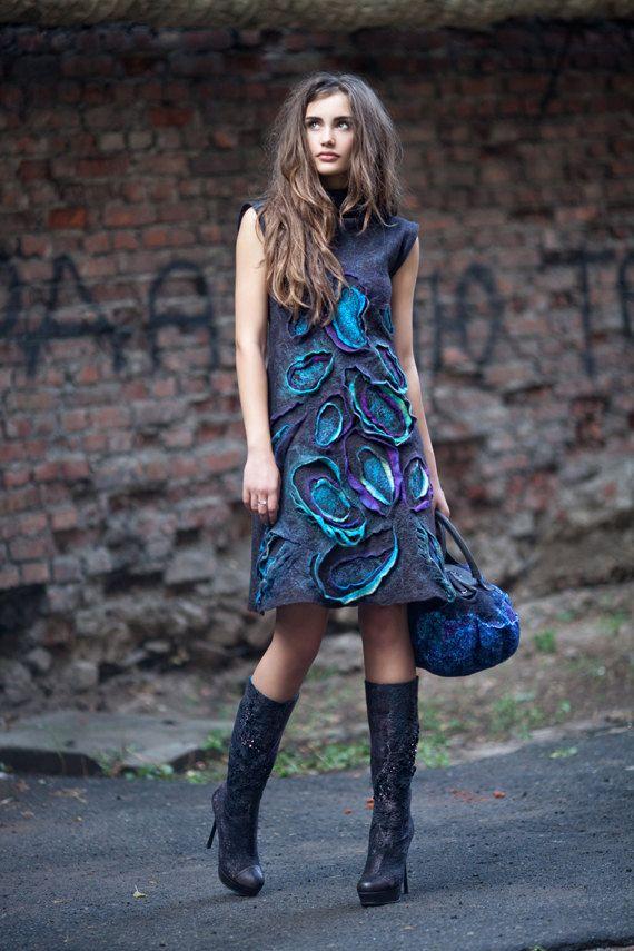 Felted Paisley Dress by DianaNagorna on Etsy. $500.00 USD, via Etsy.
