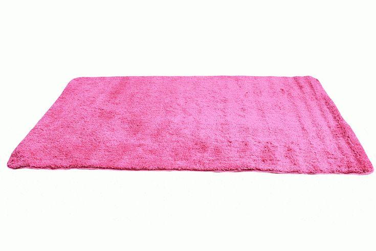Tache Microfiber Solid Hot Pink Thin Area Bath Rug Mat