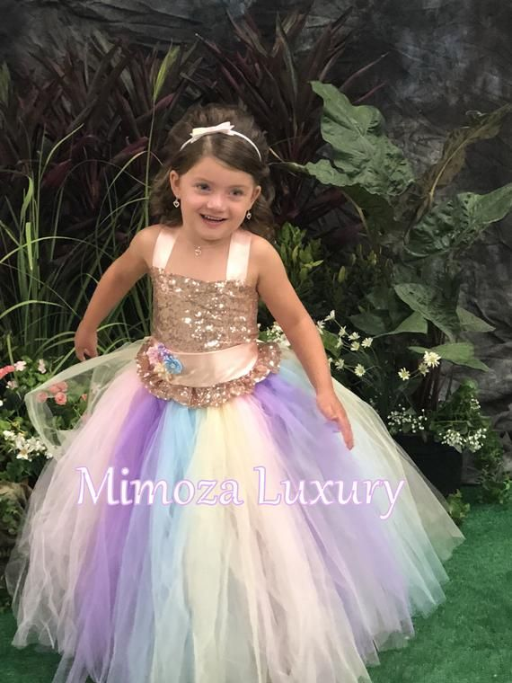 Kid Girls Birthday Rainbow Sequins Unicorn Dress for Wedding Flower Girl Dresses