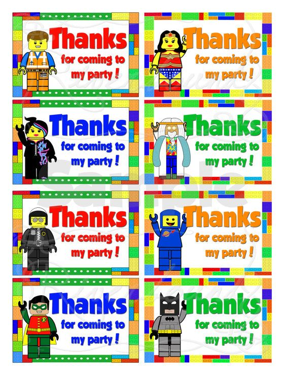 Send out your party treats with style with these fun printable tags! Each tag measures 2.5 inches by just under 3.75 inches LEGO® and the