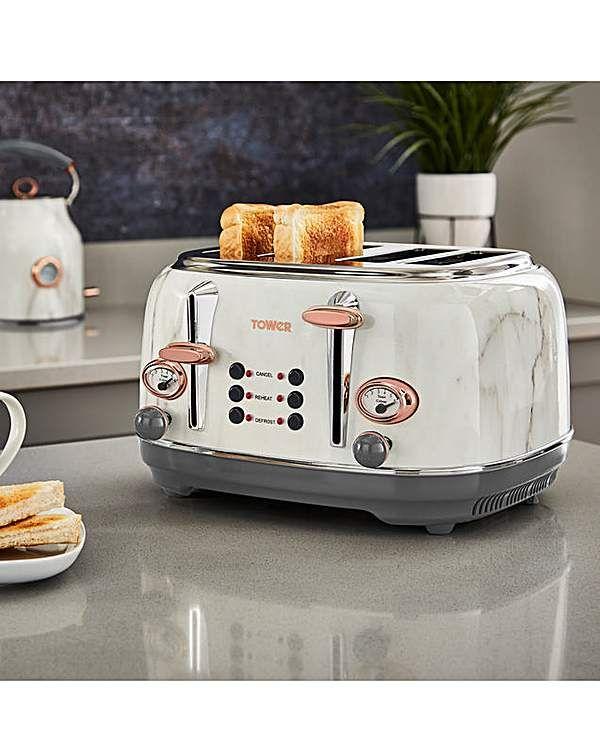 Tower 4 Slice Marble Effect Toaster Rose Gold Kitchen Kitchen
