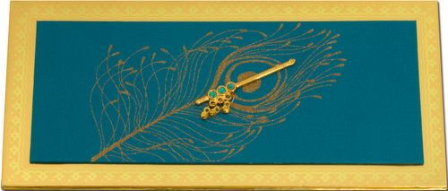 A beautiful metallic padded card has gold foil border along with padding pasted on it. It has feather printed with glitters and cute flute embellished on it. It's awesome!