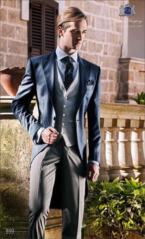 Traje de novio Chaqué azul en pura lana extra fina mixto pl coordinado con pantalon de etiqueta.