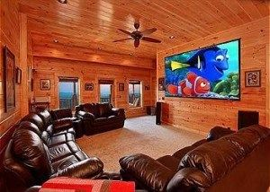 Theater room in a large Gatlinburg cabin perfect for groups