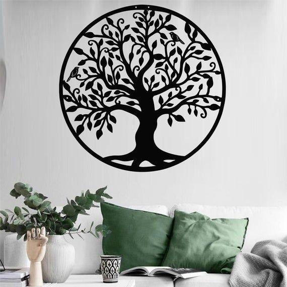 Metal Family Tree Decor Metal Wall Art Tree Of Life Etsy In 2020 Tree Wall Art Family Tree Wall Art Metal Wall Art