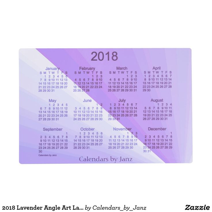 2018 Lavender Angle Art Laminated Calendar by Janz Placemat