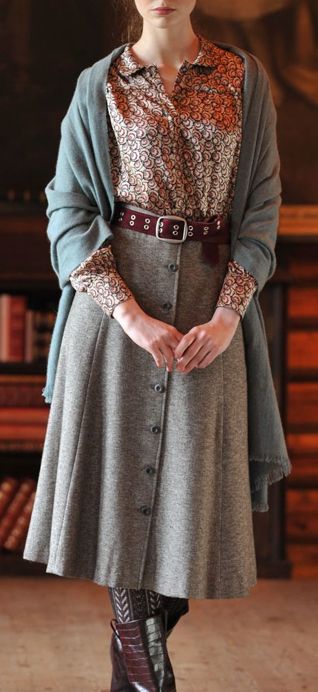 Librarian look - love the skirt, and I'd modify the other items (tights, shoes, sweater, blouse) to taste