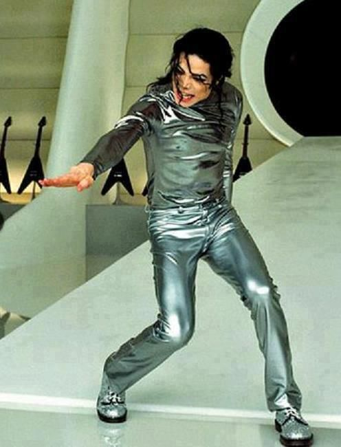 """Scream"" music video attire: Silver/gray leather long sleeve shirt and pants. Includes silver shoes"