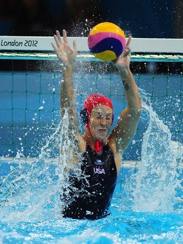 Betsey Armstrong of the USA makes a save against Hungary -  Betsey Armstrong of the USA makes a save during the women's Water Polo preliminary match between Hungary and USA on Day 3 of the London 2012 Olympic Games at Water Polo Arena.  http://www.london2012.com/photos/latestpictures.html#
