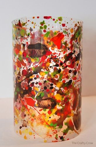Paint splatter lanterns - so pretty! by The Crafty Crow