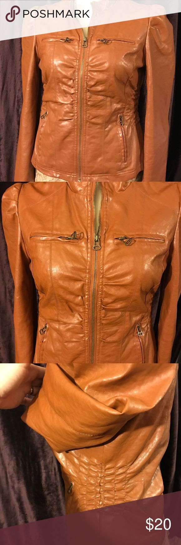 Cognac Vegan leather jacket Medium Very cute faux leather washable jacket in a beautiful cognac/caramel brown for fall. Size Medium. New Look Jackets & Coats