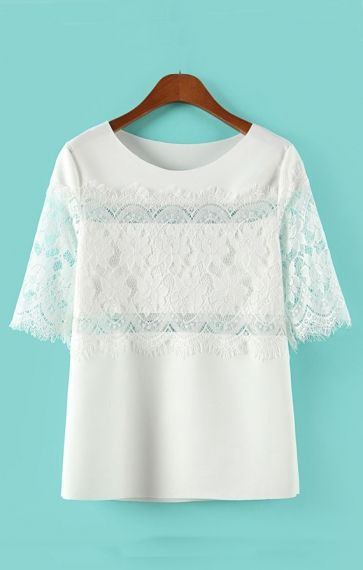 Sweet Lace Embroidery Splicing Short Sleeve Blouse