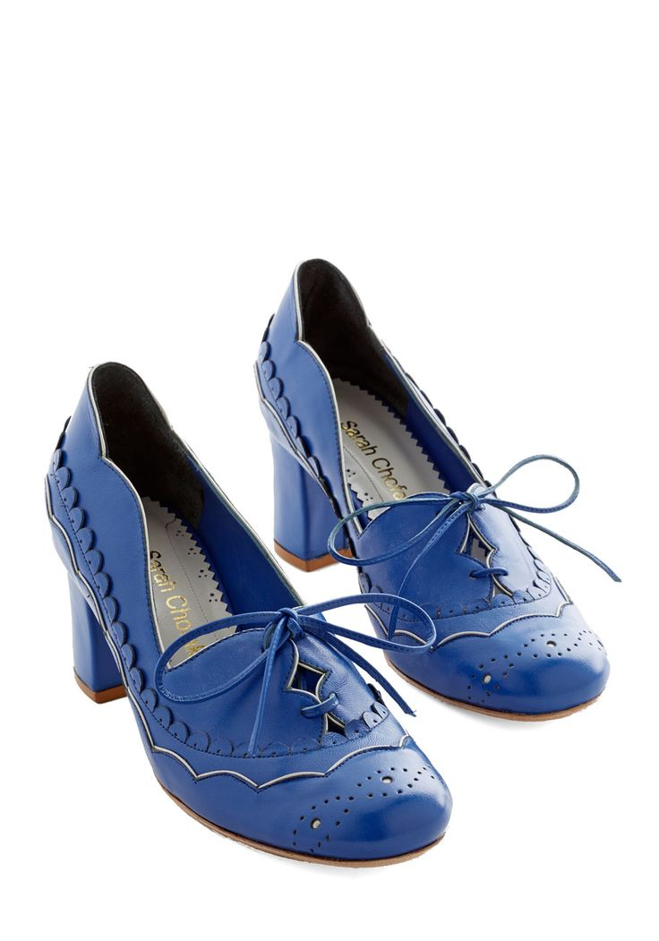 Destined for Adorable Heel. Even if you plan to meander, when you lace up these leather heels by Sarah Chofakian, your destination is set at adorable! #blue #wedding #bridesmaid #modcloth