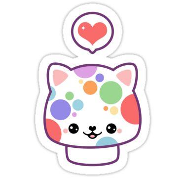 Super cute rainbow polka dotted mushroom kitty cat stickers.