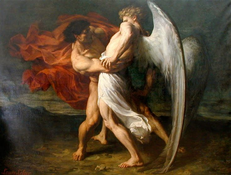 Alexander Louis Leloir, Jacob Wrestling with the Angel, 1865 http://necspenecmetu.tumblr.com/post/15803982029/alexander-louis-leloir-jacob-wrestling-with-the