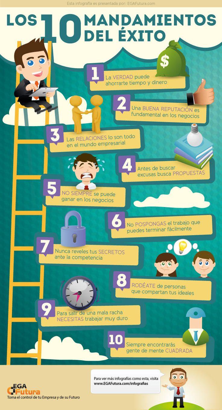 Los 10 mandamientos del éxito #infografia #consejos #palabras #vida #amor #pasion #frases