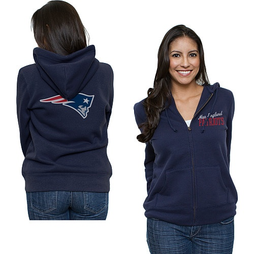 Women's New England #Patriots Game Day Full Zip Hooded Sweatshirt