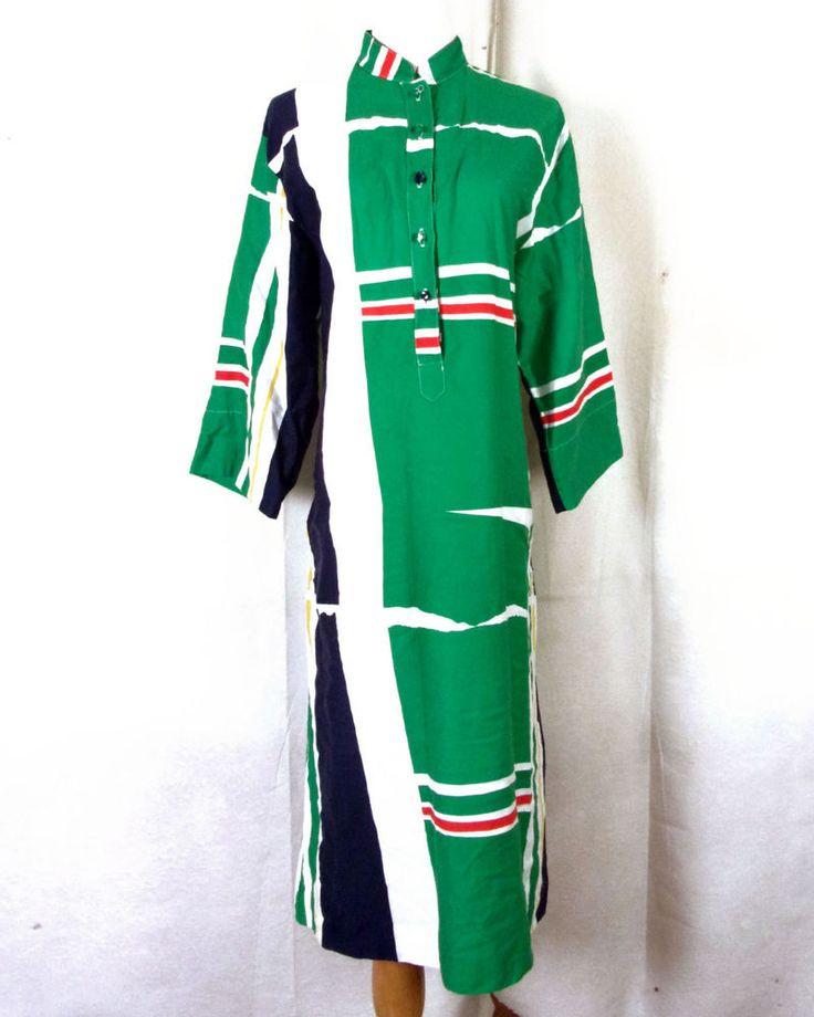 vtg 60s op art Penthouse Gallery Katherine Ogust Dress Caftan mod Hippy Boho 14