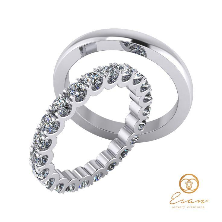 Verighete din aur alb cu diamante ESV19