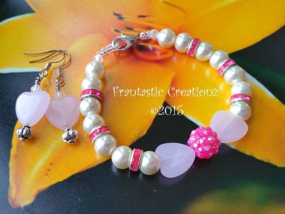 Handmade Elegant Set  Pearl Bracelet with by FrantasticCreationz