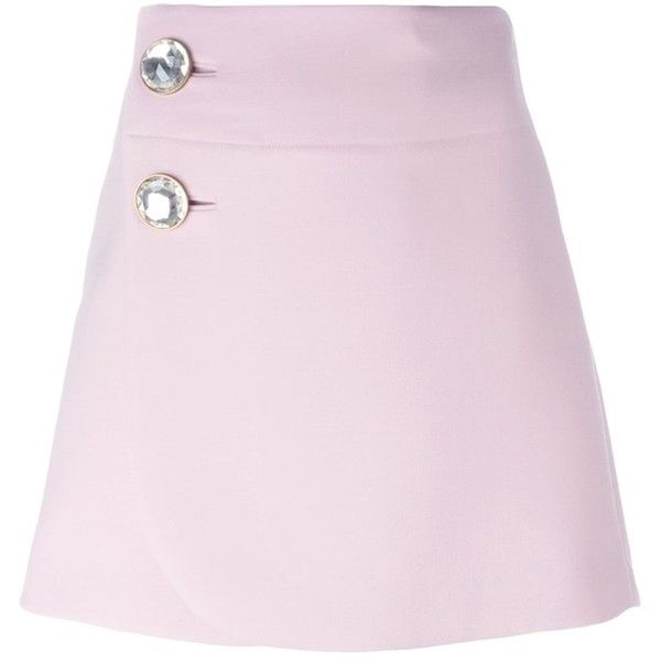 Marni embellished button A-line skirt found on Polyvore featuring skirts, short pink skirt, short skirts, short a line skirt, marni skirts and high waisted short skirts