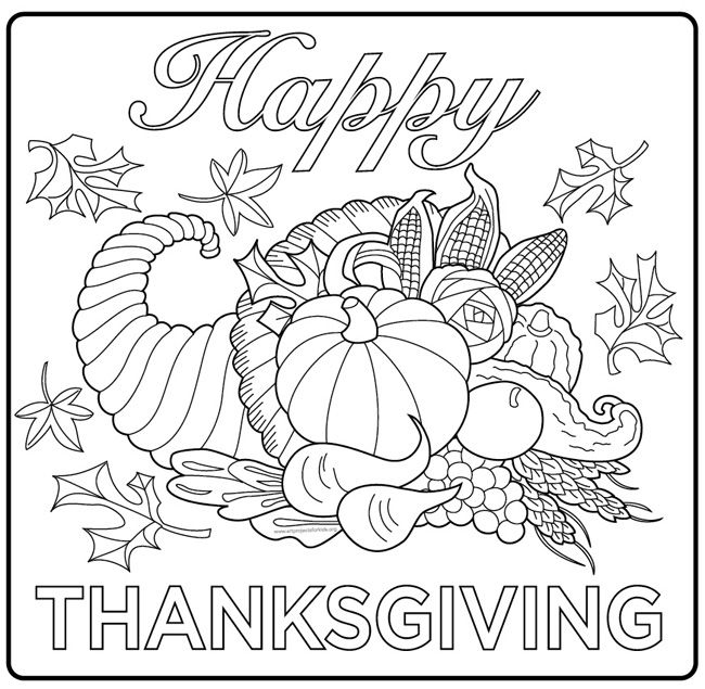 Harvest Cornucopia Drawing A Simple Coloring Page For Kids And Adults From