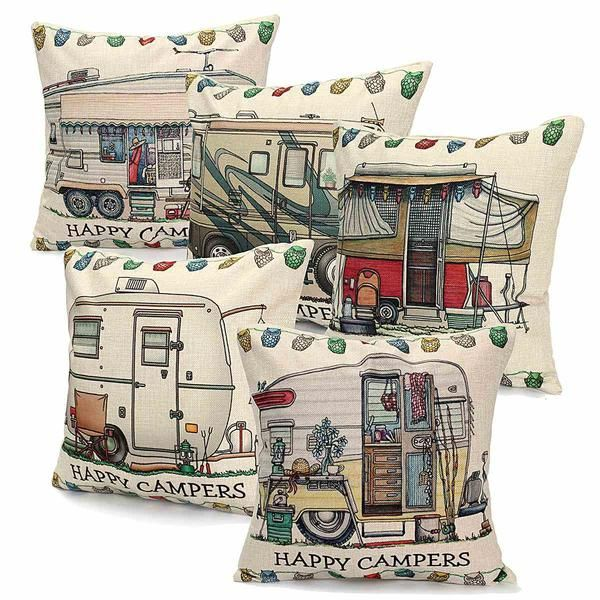 Our fun and inexpensive Happy Camper throw pillows are great accessories for your RV, camper, bedroom, or living room. Take advantage of our Free Shipping.