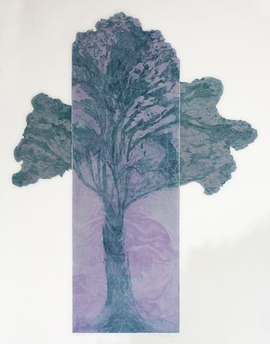 Dale's Tree 2_8, Etching with chine colle, 36in x 30in