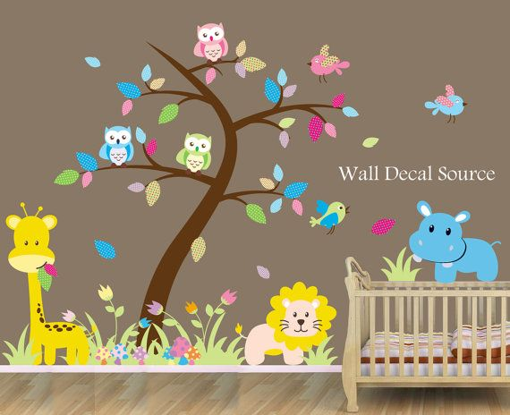 Nursery Wall Decal With Jungle Animals  Baby  by WallDecalSource, $110.00
