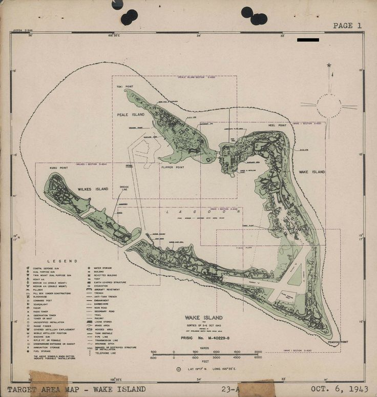 Target map for Wake Island, October 1943 #map #ww2
