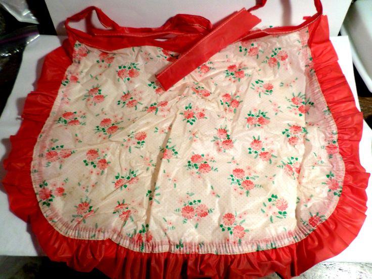 Vintage plastic, plastic apron, Hostess Apron, 1950s apron, Near mint apron, vinyl apron, Easy clean plastic, wipe off apron, midcentury by DeliciasCastle on Etsy