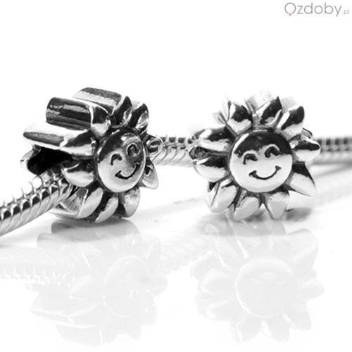 Srebrne koraliki do biżuterii modułowej w kształcie słoneczka