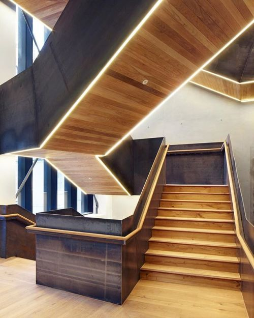 #HawkinsBrown recently completed a facility in London for the Bartlett School of Architecture which features a wooden staircase with black metal balustrades. : @JackHobhouse. @sandow - Architecture and Home Decor - Bedroom - Bathroom - Kitchen And Living Room Interior Design Decorating Ideas - #architecture #design #interiordesign #homedesign #architect #architectural #homedecor #realestate #contemporaryart #inspiration #creative #decor #decoration