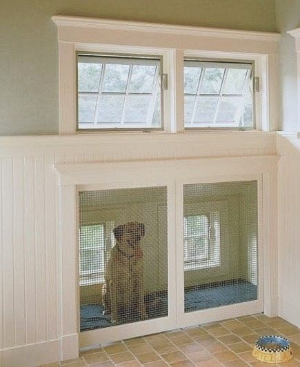 Built-in dog house with doggie door to outside to place beside the laundry room so if dirty, they can bathe before coming in. But would have a fenced in yard.