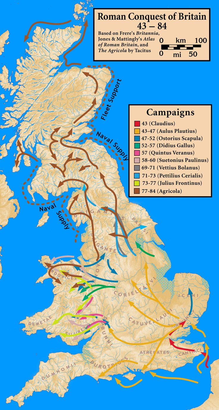 Roman campaign - map shows the route the many incursions into British territories over the decades the Romans attempted to subdue the British.