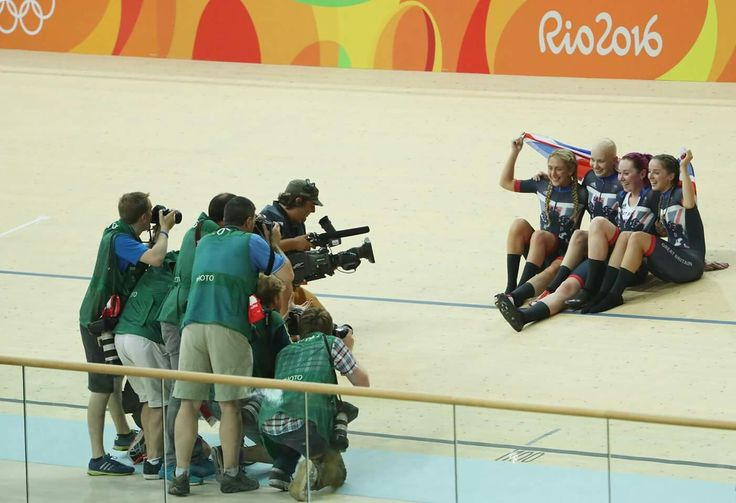 RIO DE JANEIRO, BRAZIL - AUGUST 13: Katie Archibald, Laura Trott, Elinor Barker, Joanna Rowsell-Shand of Great Britain pose for photographs after winning the gold medal after the Women's Team Pursuit Final for the Gold medal on Day 8 of the Rio 2016 Olympic Games at the Rio Olympic Velodrome on August 13, 2016 in Rio de Janeiro, Brazil. (Photo by Christian Petersen/Getty Images)