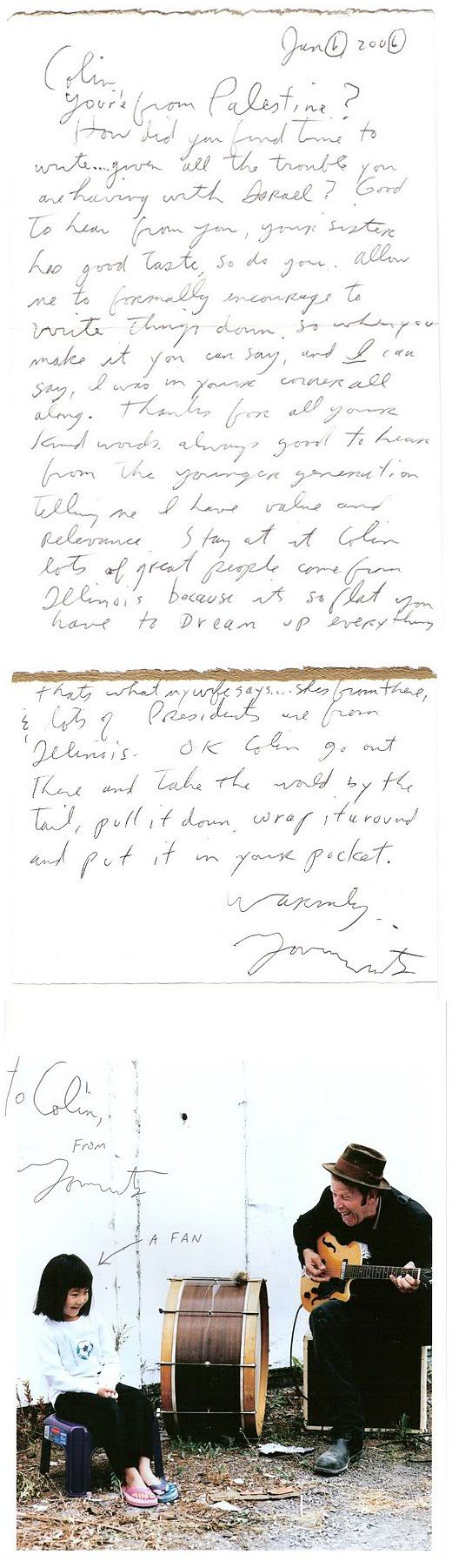 As if music wasn't enough. This letter, from no other than Mr. Tom Waits.