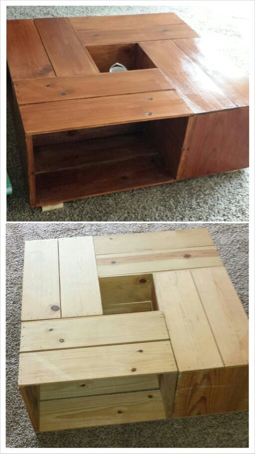 Coffee table made of wooden crates well said for Table made from crates