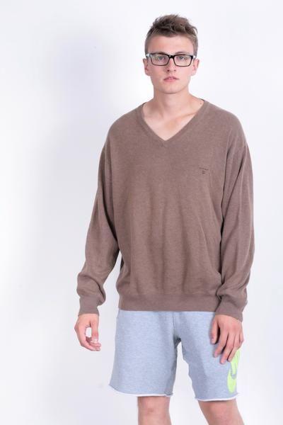 Gant Mens 2XL Jumper Brown Cotton Sweater Blouse Top V neck - RetrospectClothes