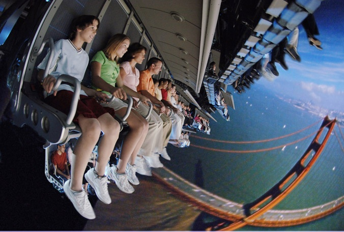 Soarin! It's so realistic and beautiful. I cry every time I get on this ride. I just love it!