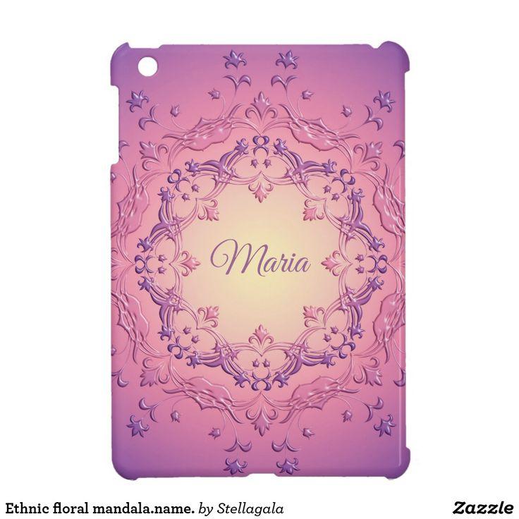 Ethnic floral mandala.name. iPad mini case #zazzle #design #mandala #ipad #cases
