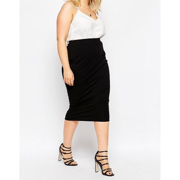 ASOS CURVE Midi Pencil Skirt in Jersey ($19) ❤ liked on Polyvore featuring skirts, women's plus size maxi skirts, plus size skirts, plus size midi skirt, high waisted pencil skirt and pencil skirt