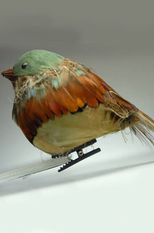 Artificial Birds Chubby Robin with Clip  5.5in