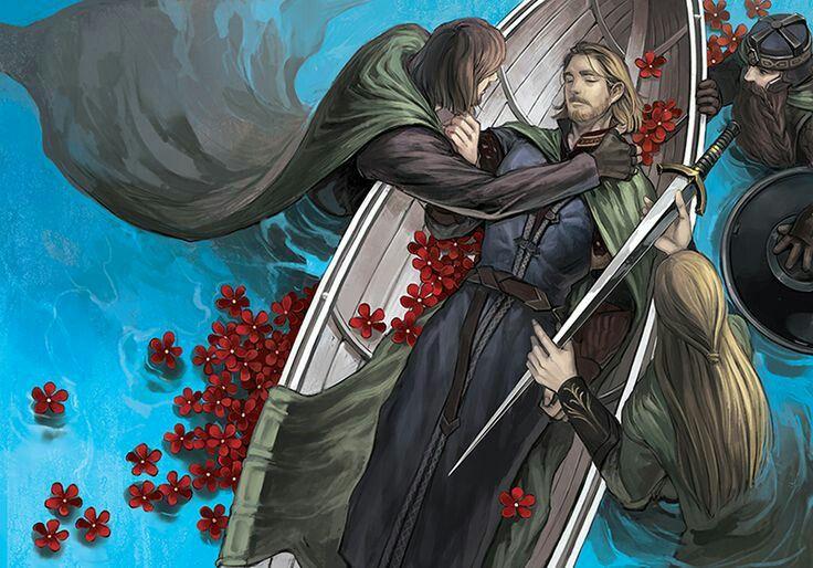 Aragorn, Legolas and Gimli saying goodbye to Boromir.