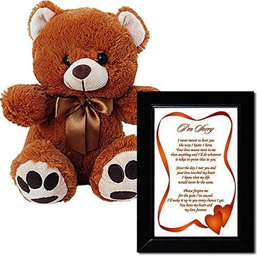 I'm Sorry Love Poem and Plush Teddy Bear - Sorry Gift for Him or Her in Black Frame with 10 Inch Bear with Brown Bow