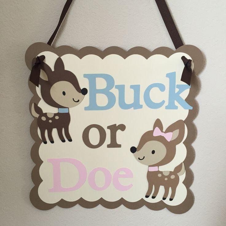 Gender Reveal Sign, Buck or Doe, Gender Reveal Party, Buck or Doe Door Sign by ThePaperPropShop on Etsy